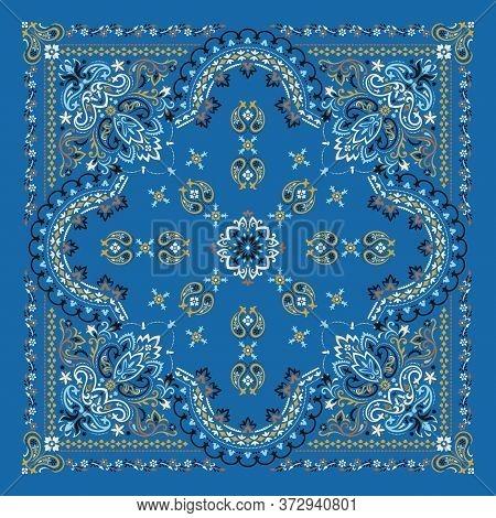 Vector Ornament Paisley Bandana Print. Silk Neck Scarf Or Kerchief Square Pattern Design Style, Best