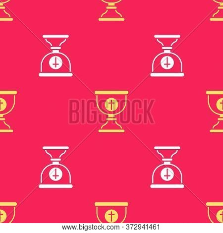 Yellow Christian Chalice Icon Isolated Seamless Pattern On Red Background. Christianity Icon. Happy