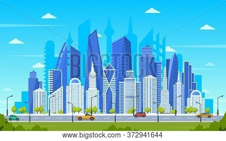 Modern City Concept. Office Buildings With Street Road Traffic, Urban Downtown Cityscape, City Stree