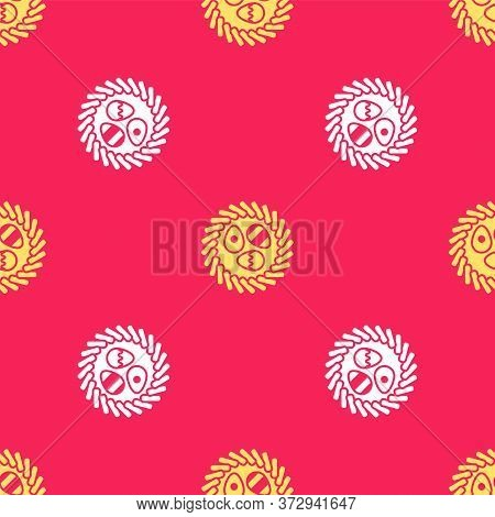 Yellow Easter Egg In A Wicker Nest Icon Isolated Seamless Pattern On Red Background. Happy Easter. V