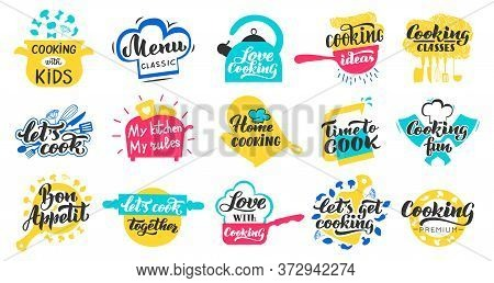 Cooking Lettering Labels. Kitchen Food Lettering Hand Drawn Badge, Cooking Recipes And Restaurant Me