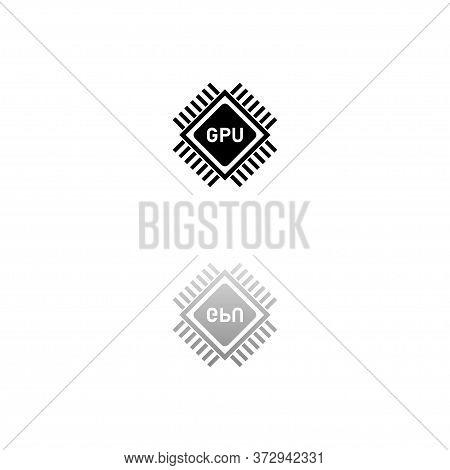 Gpu. Black Symbol On White Background. Simple Illustration. Flat Vector Icon. Mirror Reflection Shad