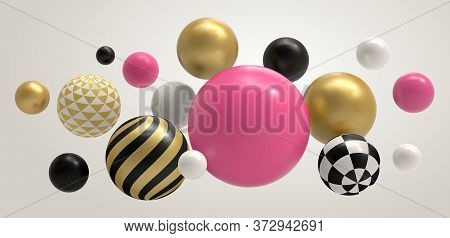 Realistic Abstract 3d Ball. Geometric Memphis Composition, Geometrical Basic Sphere Colored Concept
