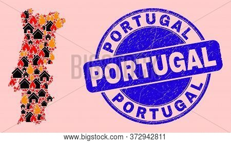 Fire And Homes Collage Portugal Map And Portugal Scratched Watermark. Vector Collage Portugal Map Is