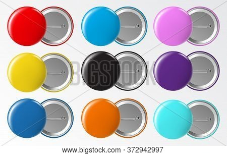 Circle Button Badge. Blank Round Pinned Plastic Or Metal Pin Label, Glossy Colorful Brooch Pins Isol