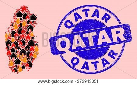 Fire Hazard And Property Collage Qatar Map And Qatar Rubber Stamp Imitation. Vector Collage Qatar Ma