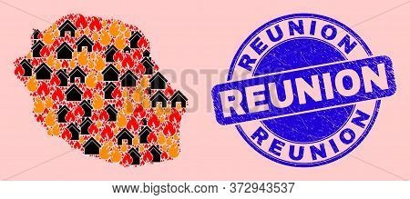 Fire And Houses Mosaic Reunion Island Map And Reunion Corroded Stamp Imitation. Vector Mosaic Reunio