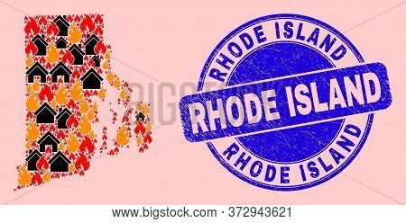 Fire Disaster And Property Collage Rhode Island State Map And Rhode Island Corroded Watermark. Vecto