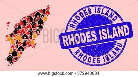 Fire Disaster And Buildings Composition Rhodes Island Map And Rhodes Island Unclean Stamp Imitation.