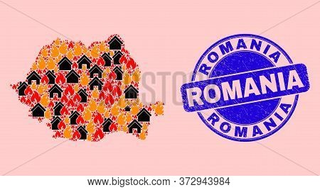 Flame And Buildings Collage Romania Map And Romania Corroded Stamp Seal. Vector Collage Romania Map