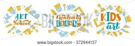 Creative Kids Art Concept. Kids Art Class Lettering, Handwritten Creativity Children Center, Hand Dr