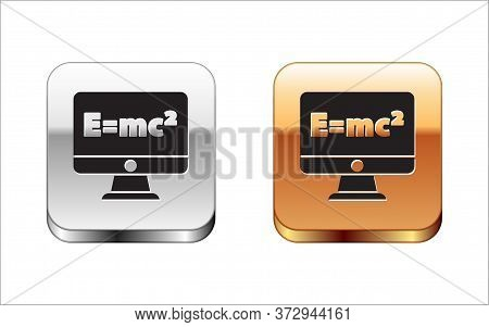 Black Math System Of Equation Solution On Computer Monitor Icon Isolated On White Background. E Equa