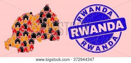 Fire Disaster And Property Mosaic Rwanda Map And Rwanda Dirty Seal. Vector Collage Rwanda Map Is Con
