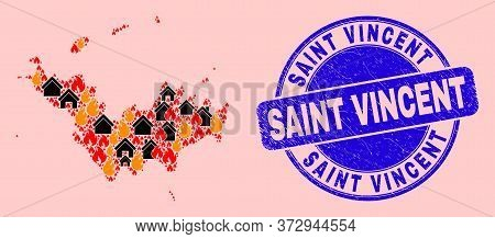 Fire And Homes Composition Saint Barthelemy Map And Saint Vincent Dirty Stamp. Vector Collage Saint