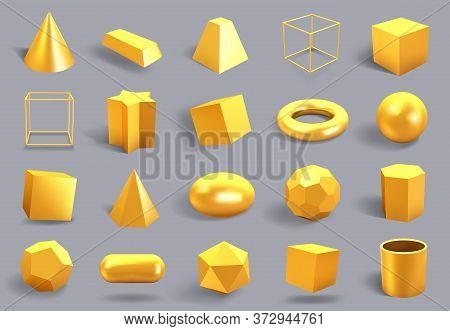 Realistic 3d Gold Shapes. Golden Metal Geometric Shape, Shiny Yellow Gradient Cube, Sphere And Prism