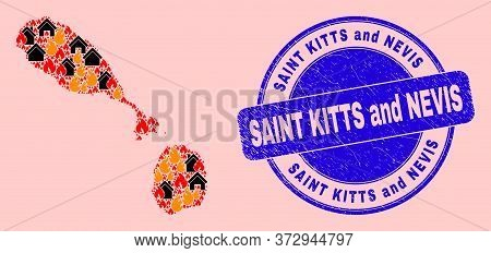 Fire Hazard And Buildings Collage Saint Kitts And Nevis Map And Saint Kitts And Nevis Unclean Stamp