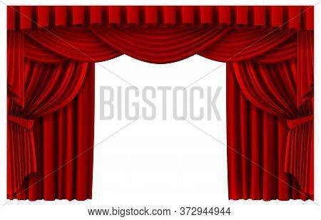 Red Stage Curtain. Realistic Theater Scene Backdrop, Cinema Premiere Portiere Drapes, Ruddy Ceremony