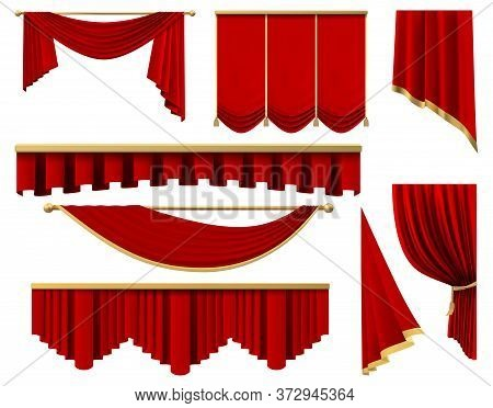 Vintage Red Realistic Curtains. Stage Luxury Scarlet Fabric Curtain, Silk Interior Lambrequin Draper