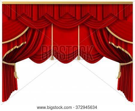 Retro Red Stage Curtain. Realistic Luxury Silk Curtains, Theater Scene Interior Drapery Decoration,