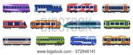 Subway Passenger Trains. High Speed Trains, Metro Ground, Underground Transport. Passenger Transport