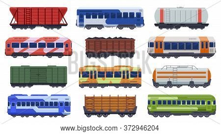 Trains Transportation. Passenger And Freight Trains, Steam Train, Goods High Speed Trains. Subway Un