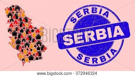 Fire Hazard And Realty Mosaic Serbia Map And Serbia Dirty Stamp Print. Vector Mosaic Serbia Map Is D
