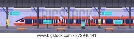 Subway Station. Metro Station Platform, Empty Subway Underground Interior, Modern Metropolitan Publi