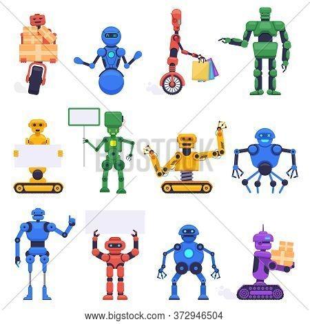 Futuristic Robots. Robotics Android Bot, Mechanical Humanoid Robot Characters, Robotic Mascot Assist