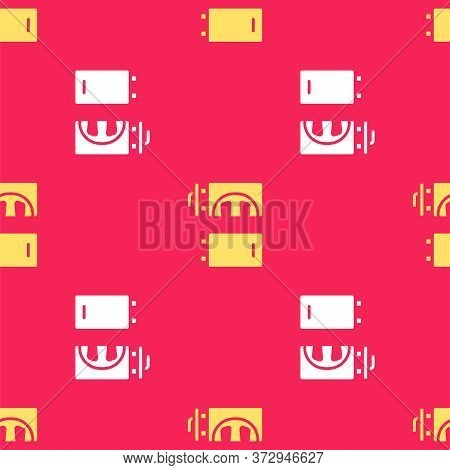 Yellow Crematorium Icon Isolated Seamless Pattern On Red Background. Vector
