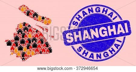 Fire Hazard And Houses Mosaic Shanghai City Map And Shanghai Textured Stamp Print. Vector Mosaic Sha