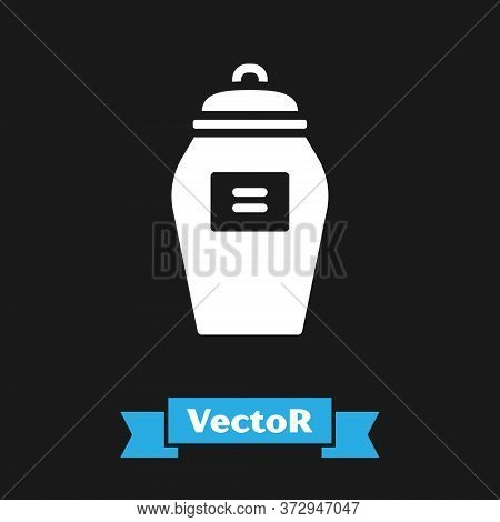 White Funeral Urn Icon Isolated On Black Background. Cremation And Burial Containers, Columbarium Va