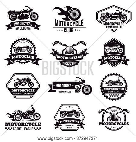 Retro Motorcycle Emblems. Biker Club Motorcycle Badges, Bike Stamp, Motorbike Wheel Wings Emblem, Mo