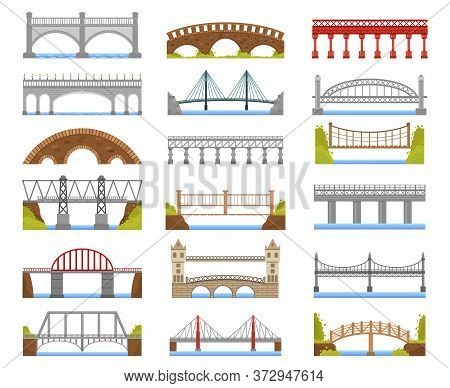 Architecture Bridge. Urban River Bridge Building, Arch, Cable-stayed, Beam And Suspension Bridges Is