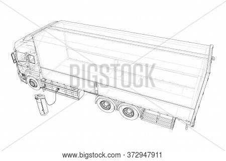 Electric Truck Charging Station Sketch. Vector Rendering Of 3d. Wire-frame Style. The Layers Of Visi