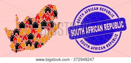 Fire Hazard And Property Collage South African Republic Map And South African Republic Grunge Stamp