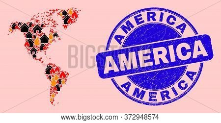 Fire Hazard And Buildings Composition South And North America Map And America Scratched Seal. Vector