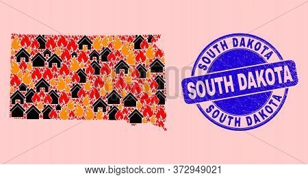 Fire Disaster And Buildings Composition South Dakota State Map And South Dakota Dirty Stamp Seal. Ve