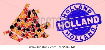 Fire Disaster And Property Mosaic South Holland Map And Holland Unclean Stamp Seal. Vector Mosaic So
