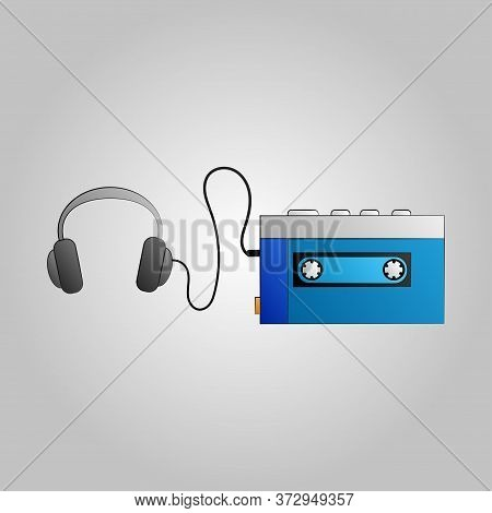 Old Beautiful Retro Hipster Music Audio Cassette Player From The 70s, 80s, 90s On A Blue Background.
