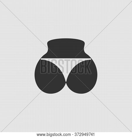 Sexy Panties, Women Ass In A Thong Icon Flat. Black Pictogram On Grey Background. Vector Illustratio