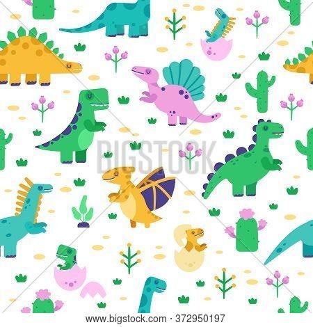 Dinosaur Pattern. Cute Dino Doodle Pattern, Dinosaurs Hand Drawn Tyrannosaurus, Pterodactyl Backgrou
