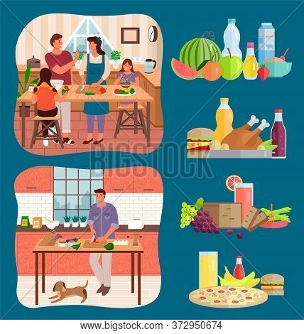 Set Of Dietary Food Compositions, Collection Of People Cooking Meal. Family Preparing Food For Holid