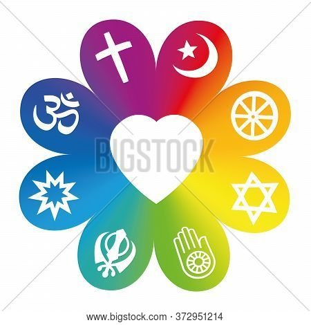 World Religions. Symbols On A Rainbow Colored Flower With A Heart In Center As A Symbol For Religiou