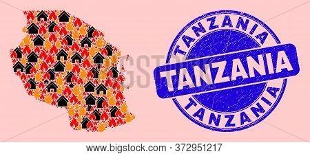 Fire And Houses Mosaic Tanzania Map And Tanzania Rubber Stamp Imitation. Vector Mosaic Tanzania Map