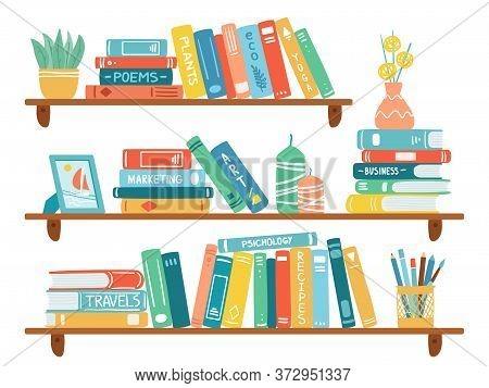 Interior Bookshelves. Books At Bookshelf, Textbooks Pile, School Education Or Bookstore Shelf, Libra