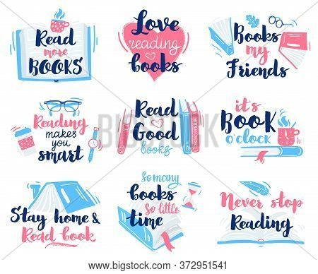Books Lettering Quotes. Reading Hand Drawn Lettering, Motivation Library Reading Phrases Vector Illu