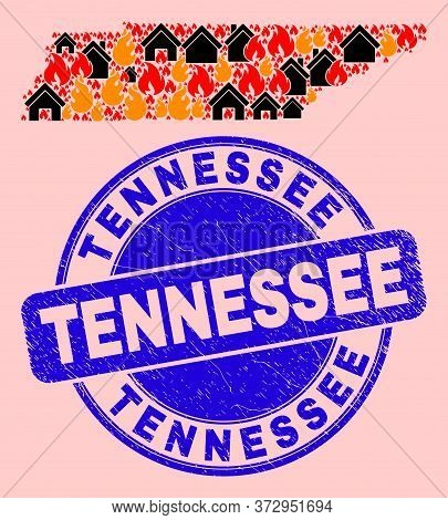 Fire And Homes Collage Tennessee State Map And Tennessee Corroded Stamp. Vector Mosaic Tennessee Sta