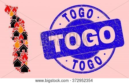 Fire Disaster And Buildings Mosaic Togo Map And Togo Grunge Stamp. Vector Mosaic Togo Map Is Designe