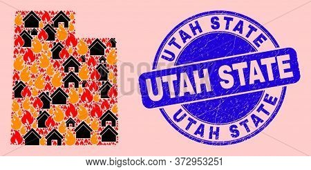 Fire Disaster And Buildings Collage Utah State Map And Utah State Scratched Watermark. Vector Collag