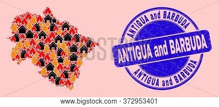 Flame And Houses Mosaic Uttarakhand State Map And Antigua And Barbuda Rubber Stamp Print. Vector Mos